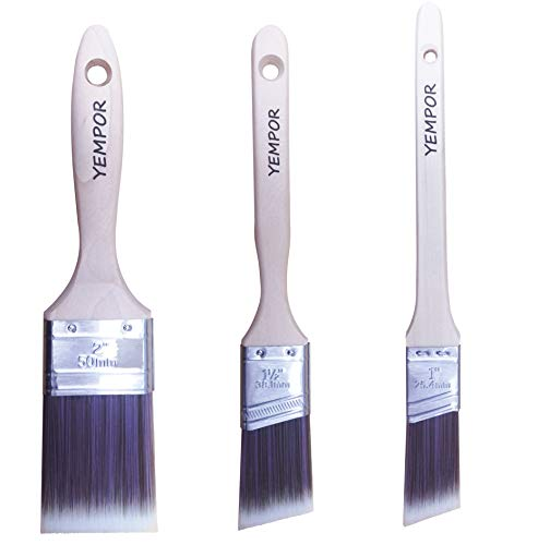YEMPOR Pinselset, Malerpinsel 3-teilig für präzise Arbeiten, Lasurpinsel, Lackpinsel, Borstenpinsel