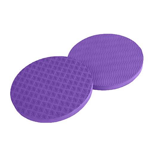 Andouy Yoga Knee Pad Pilates Workout Mat Yoga-Kniepolster für Workout, Runde Ellenbogenscheibe, Schutz für Gelenke und Ellbogen, 2 Stück(17X1.5CM.Lila)
