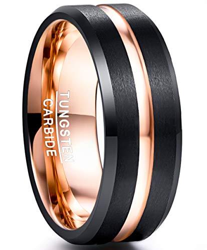 NUNCAD Damen Herren Partner Ring Schwarz + Rosegold 8mm Wolframcarbid mit Rosegoldener Rille für Hochzeit Verlobung Valentinstag Fashion Größe 54 (14)