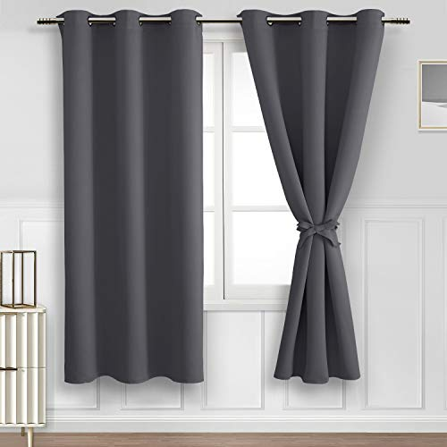 Hiasan Blackout Curtains for Bedroom, 42 x 63 Inches Length - Thermal Insulated & Light Blocking Window Curtains for Living Room/Kids Room, 2 Drape Panels Sewn with Tiebacks, Dark Grey