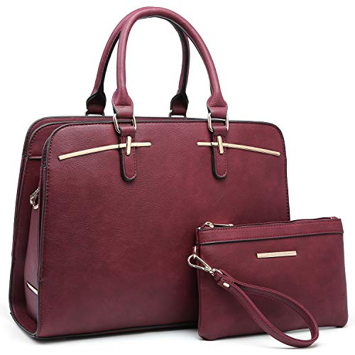 Dasein Women Satchel Handbag Shoulder Purse Top Handle Work Bag Tote Bag With Matching Wallet (Burgundy)
