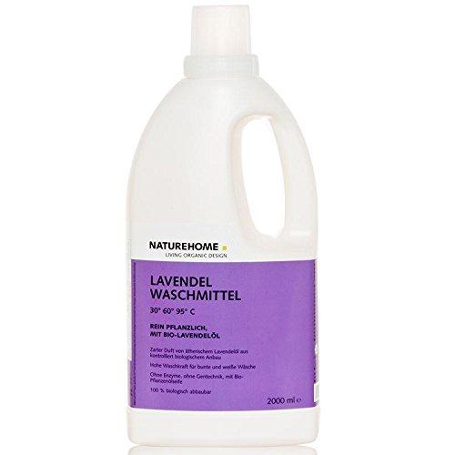 NATUREHOME Bio-Waschmittel flüssig ideal für Weiß- & Buntwäsche I VEGAN I Color-Waschmittel mit natürlichem Lavendel-Duft I 2,0L