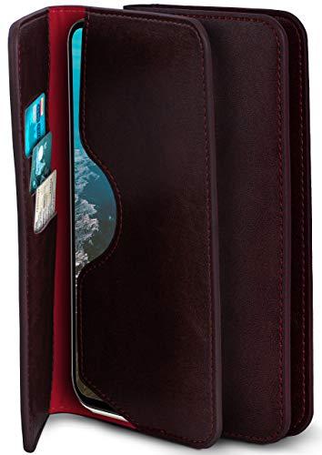 moex Excellence Line Handytasche kompatibel mit Samsung Galaxy S21 Plus | Hülle Wein-Rot - Mit Kartenfach und Geld + Handy Fach, Klapphülle, Flip-Hülle Tasche, Klappbar