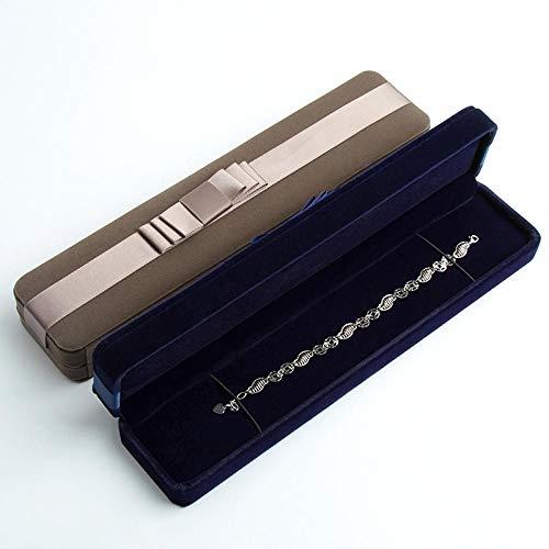 Cinta de franela Joyero Pulsera Pulsera Collar Colgante Caja de joyería rectangular Regalo de aniversario de cumpleaños-Crecido_4