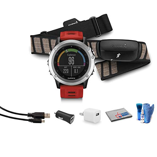 Garmin Fenix 3 Multisport Training GPS Fitness Watch with HRM-Run Heart Rate Monitor (Silver with Red Band) Bundle with 1 Year Warranty + Cleaning Kit + USB Adapter + More