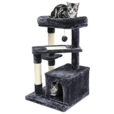 SUPERJARE Cat Tree with Extra Scratching Board & Posts, Kitten Tower Center with Plush Perch and Dangling Ball, Pet Play Condo Furniture - Dark Gray