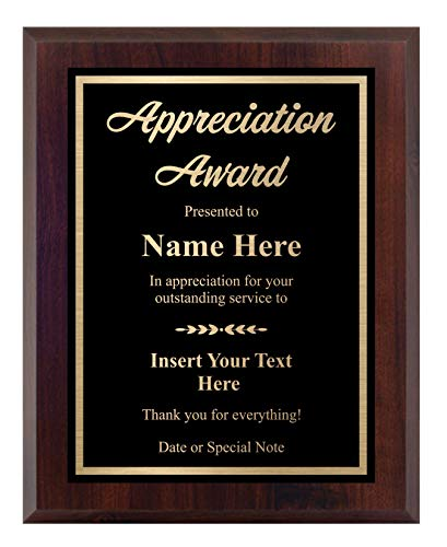 Custom Plaque for Appreciation - Personalized Award - Choose Your Size, Customize Now! (8x10)