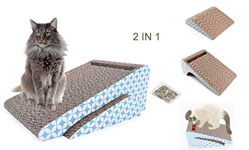 Old Tjikko Kratzbrett Pappe,Katzen Spielezeug,Kratzbrett für Katzen mit Katzenminze Catnip,Kratzmöbel,Spielzeug Katzen Beschäftigung,Katzen Kratzmatte Katze Zubehör aus Recycelbar Wellpappe