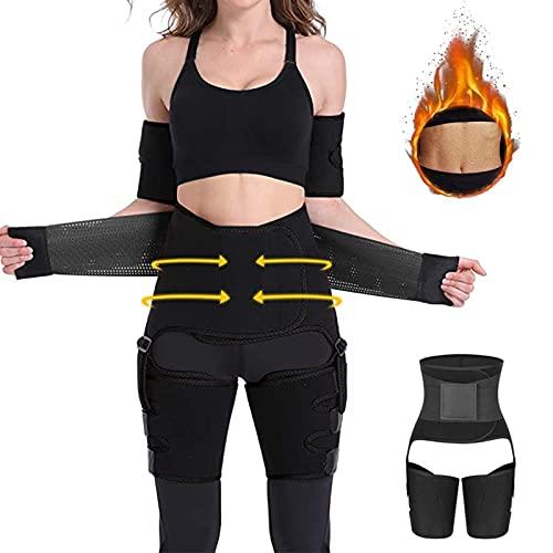 Queath Bauchweggürtel, Fitness Gürtel zur Fettverbrennung Verstellbarer, Schwitzgürtel 3 in 1,Taille Trimmer Gürtel Fitnessgürtel, Abnehmen Waisttrainer Taillenformer, Bauchgürtel für Damen (S-M)