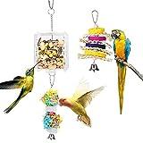 Lewondr 3PZS Juguete Colgante para Pájaro, Juguete Creativo de Comedero con Caja Transparente de Alimento y Ratán Masticadora para Jaula,...