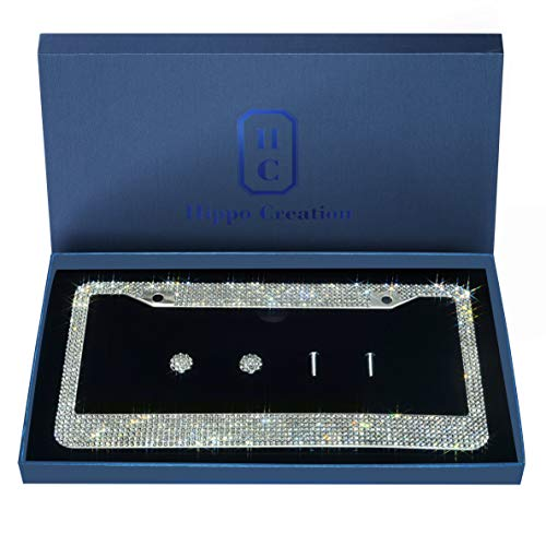 1 Pack Luxury Handcrafted Clear Rhinestone Premium Stainless Steel Bling License Plate Frame with Gift Box | 1000+ pcs Finest 14 Facets SS20 Clear Rhinestone Crystal | Anti-Theft Screw Cap