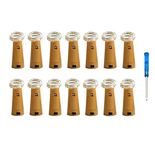Paquete de 14 Luces de botella,Vansoon Cork en forma 20 Micro LEDs 2M Cadena de luces con destornillador Botella de vino Decoración de cristal Luces de bricolaje para fiesta Cumpleaños (Blanco cálido)