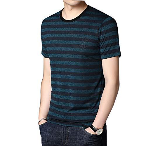 Camiseta de Manga Corta para Hombre, Verano, Nuevas Rayas Casuales, Tendencia de Moda Juvenil Delgada Coreana, Camisa de Media Manga para Hombre