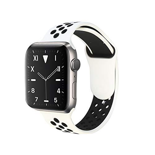 Cinturino di ricambio compatibile con Apple Watch 38 mm, 40 mm, 42 mm, 44 mm, in morbido silicone, con fori traspiranti, compatibile con Serie 5, 4, 3, 2, 1, bianco/nero, 42 mm / 44 mm M/L
