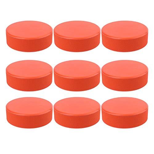 Faswin 9 Pack Ice Hockey Pucks, Training Hockey Pucks, Official Regulation, Orange