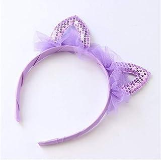 XIAONINGMENG-A Children's Headband Sweet Lace Ears Funny Show Hairpin Girls Cute Headband Headwear hair ornaments (Color : Purple)
