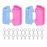 Allinlove 2 x School Bus Shape Vehicle Keychain Silicone Mold with Hole