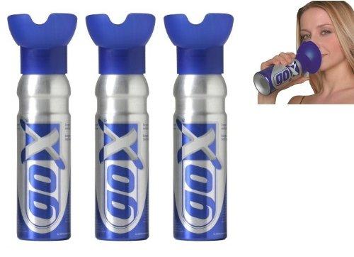 Pack de 3 latas de oxígeno de 6 litros – Latas de oxígeno puro que se respiran – Marca GOX