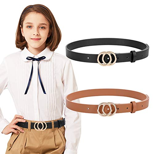 2 Pack kids Leather Belts,SANSTHS Faux Leather Jeans Belt for Girls with Double O-Ring Buckle for teen (Black & Brown, M)