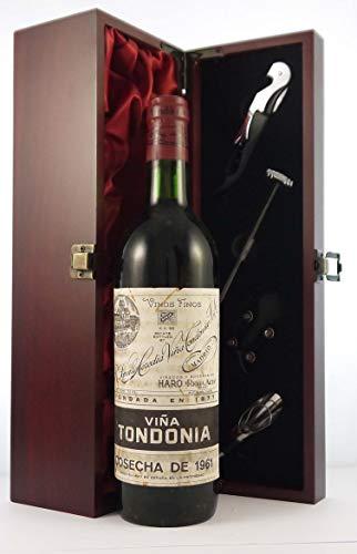 Rioja Vina Tondonia Gran Reserva 1961 Spain en una caja de regalo forrada de seda con cuatro accesorios de vino, 1 x 750ml