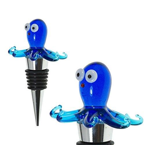Glass Octopus Wine Stopper - Champagne/Wine Bottle Stopper, Decorative, Unique, Eye-Catching Glass Wine Stoppers – Octopus Décor, Wine Accessories, Octopus Gift for Host/Hostess - Wine Corker/Sealer