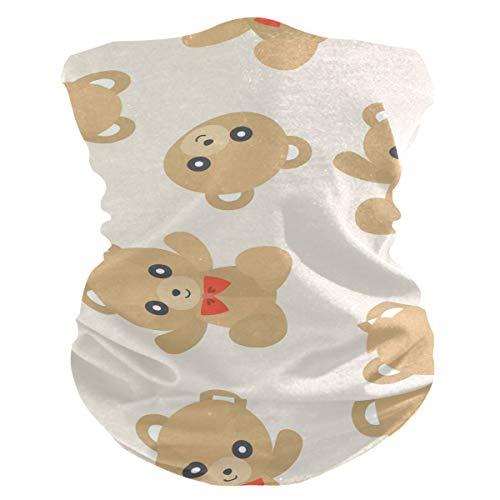 Damen Stoff-Gesichtsmaske, multifunktional, Bandanas, Schnittmuster, unisex, niedliches Teddybär-Stoff-Muster, bedruckbar, für Herren und Damen, Kopfbedeckung, Gesichts-Handtuch, waschbar, Innentasche