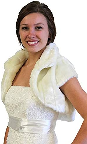 Tion Design Faux Pelted Fur Bolero Jacket for Brides Ivory-Medium