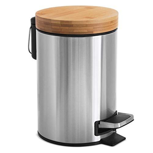 Kazai.® 3l Design Kosmetikeimer | Bambus-Holzdeckel mit Absenkautomatik | Treteimer mit Anti-Fingerabdruck und Komfort-Pedale | Silber