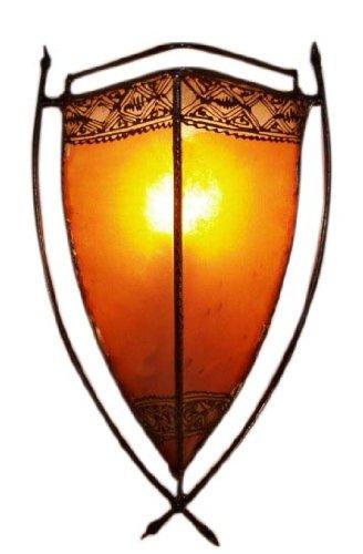 Guru-Shop Lámpara Henna, Lámpara de Pared de Cuero/lámpara de Pared - Myra, Naranja, Decuero, Color: Naranja, 44x24x14 cm, Luces de Pared