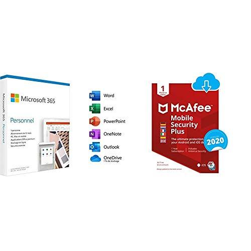 Microsoft 365 Personnel|2020|1 Appareil|1 an|PC/MAC/Chromebook| (Envoi par la Poste) + McAfee Mobile Security with VPN | 1 Appareil | 1 Usager | 12 Mois | PC/Mac | Code d'Activation - Envoi par Email