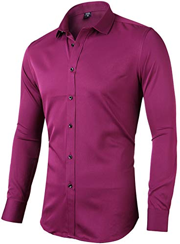 INFlATION Herren Hemd aus Bambusfaser umweltfreudlich Elastisch Slim Fit für Freizeit Business Hochzeit Reine Farbe Hemd Langarm,DE M (Etikette 41),Rot