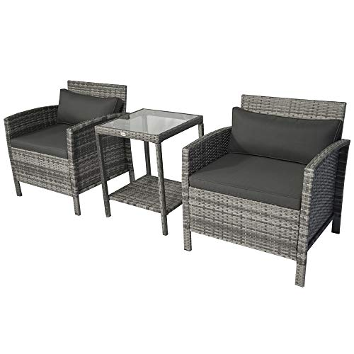 Outsunny 3 Piece Patio PE Rattan Wicker Coffee Bistro Set with Cushions, Conversation Furniture Set with Glass Top Table, Open Shelf for Backyard, Garden, Patio, Grey