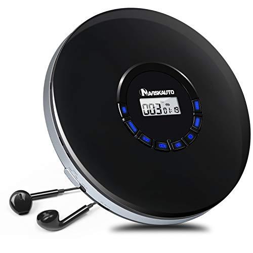 Reproductor de CD portátil con Auriculares,12 Horas de Duración de la Batería, CD para Coche Soporta formatos CD,MP3,WMA, con Cable AUX de 3.5 mm - NAVISKAUTO