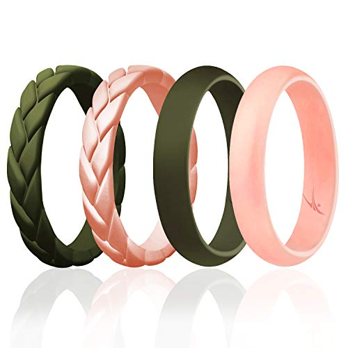 ROQ Silicone Rings for Women Thin Womens Silicone Rubber Wedding Rings Bands - Braided Flame Leaves and Dome Collection - Can Be Used as Stackable Rings - Dark Green, Rose Gold, Size - 10