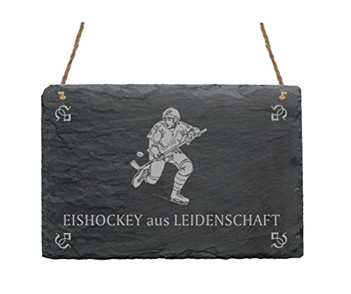 Schiefertafel « EISHOCKEY AUS LEIDENSCHAFT » mit MOTIV Schild Schiefer Hockey