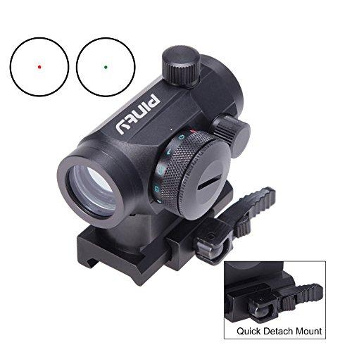 Pinty Taktische Reflex Red Rot Grün Punkt Sight Zielfernrohr mit Schnellverschluss 20mm Montieren Schienen und Objektivdeckel Obj. 22mm