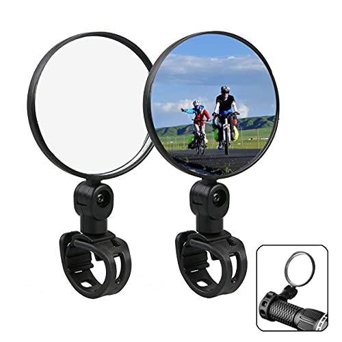 Fahrradspiegel, 360 Grad Drehen Klapprückspiegel, Fahrrad Rückspiegel Universal Radfahren Fahrrad Mountainbike Lenker Konvexen Reflektor Spiegel (2 STÜCKE)
