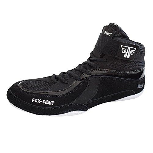 FOX-FIGHT W9 Ringer Wrestling Schuhe aus Wildleder Professionelle Hochwertige Qualität 45 schwarz