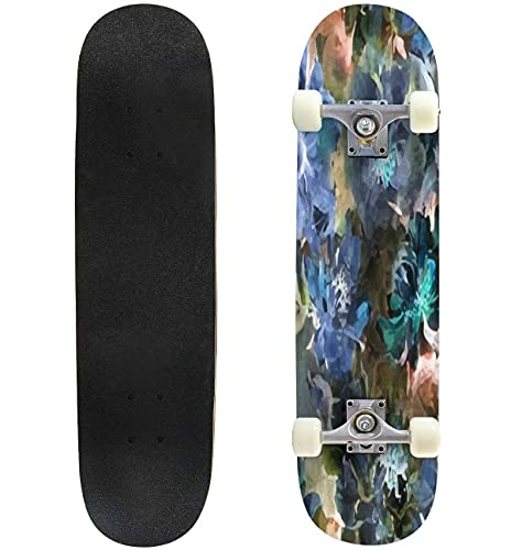 """Beautiful Purple Peony Flowers with Green Leaves on Dark Background Skateboard 31""""x8"""" Double-Warped Skateboards Outdoor Street Sports Skateboard for Beginners Professionals Cool Adult Teen Gifts"""