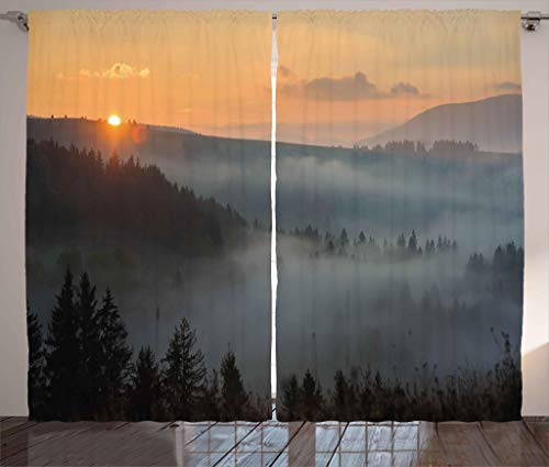"""Ambesonne Nature Curtains, Morning at Foggy Mountain Range Sunrise Pine Tree Forest Dramatic Misty Sky Scenery, Living Room Bedroom Window Drapes 2 Panel Set, 108"""" X 84"""", Misty Grey"""