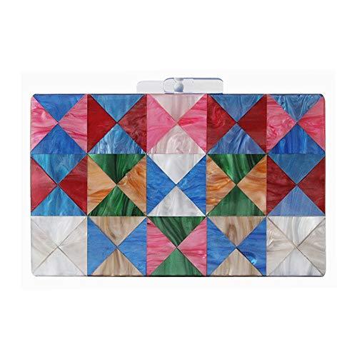 MQW Nueva Cadena Hombro Bolsa Diagonal Triángulo Costura Color Acrílico Bolso De...