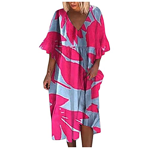 Zolimx Gonna Corta Cava,Abito Blusa Senza Maniche da Spiaggia di Grandi Dimensioni con Scollo a V Tinta Unita Moda Donna,Vestito(Hot Pink,L)