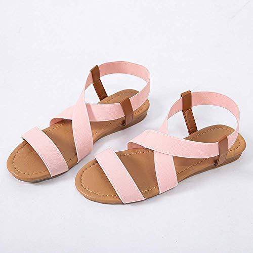 SOFIALXC Sandalias Mujer Cuero De Imitación Cuñas Zapatillas De Verano Mulas De Playa con Tiras Plataforma De Punta Abierta Confort Sandalias De Playa Elásticas Zapatos Sandalias Zapatos Planos De Co ⭐