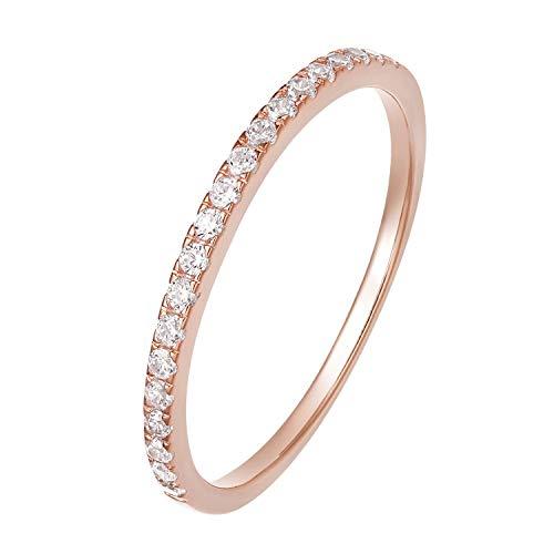 Zakk Eternity Ring Damen Ewigkeitsringe Vorsteckring Schmal Silber 925 Zirkonia Roségold Vergoldung Verlobungsringe Eheringe Trauringe Memoire Ring(Roségold,58 (18.5))