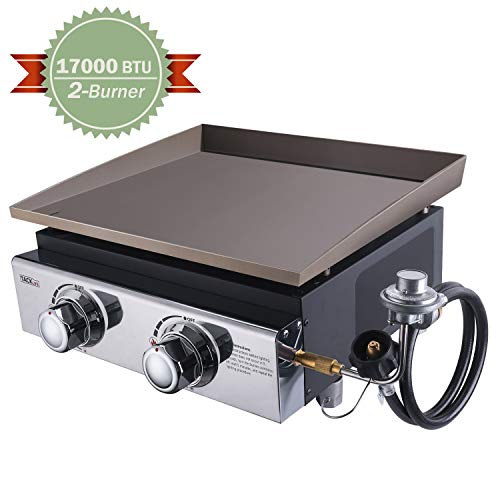 TACKLIFE 18 Inch Tabletop Grill, 17000 BTU Propane Gas Griddle, 2 Adjustable Burners, Stainless Steel Panel, Portable, Camping Picnic, Outdoor Courtyard-TGG02 Grills Propane