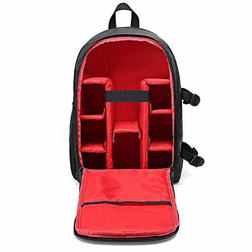 Tovaglia per fotocamera, borsa impermeabile con scomparto per computer portatile, zaino fotografico, grande capacità con copertura antipioggia per fotocamere reflex, Rosso, M