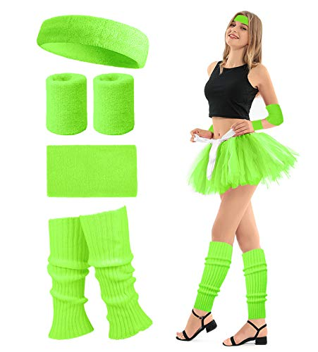 80's Retro Running Jogging Sports Headband Wristbands Leg Warmers Elbow Guard Set For Women Girls, Neon Green