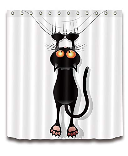 NNAYD1996 Acerca del Juego de Cortinas de Ducha Black Cat Impresión Digital a Prueba de Agua y Moho