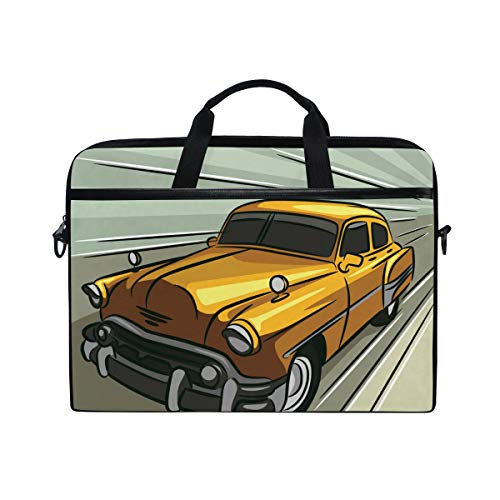 EZIOLY Car Speeding Across The Road Laptop Shoulder Messenger Bag Case Sleeve for 13 Inch to 14 inch Laptop