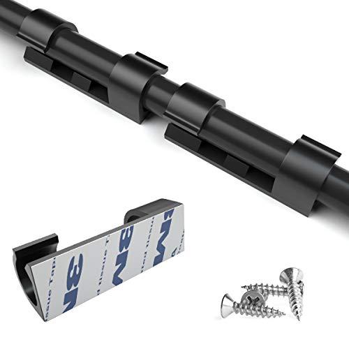 80 Stück Kabelclips Selbstklebende Kabelklemme mit Klebstoff Unterlage und Schrauben Kabelhalter Halter Set für Schreibtisch, Netzkabel, USB Ladekabel, Ladegeräte und Audiokabel (schwarz)